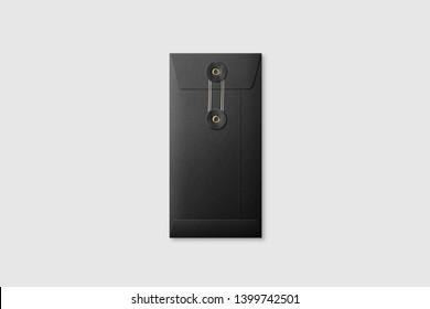 Black paper DL size String and Washer Envelope Mockup on light grey background. High resolution.