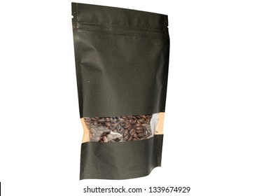 black paper doypack stand up pouch with window  zipper  filled with coffee beans on white background