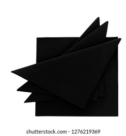 Black paper serviettes, napkins isolated on white. For funeral, wake etc.
