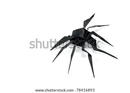 Black Paper Spider Origami Isolated On Stock Photo Edit Now
