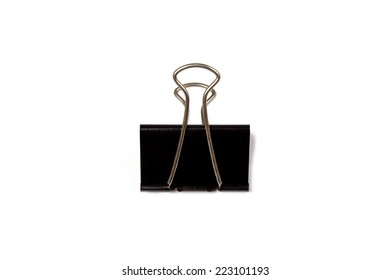 Black paperclips isolated on a white background.