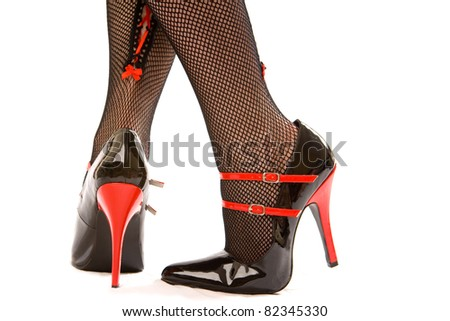 heels stockings and high Black