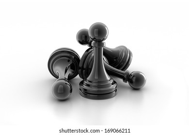 black pawn isolated on white colour