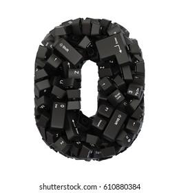 Black PC keyboard button font. 3d rendering.