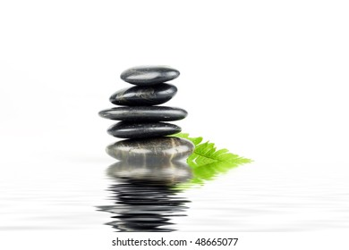 black pebbles balanced zen concept with fern leaf reflected in water