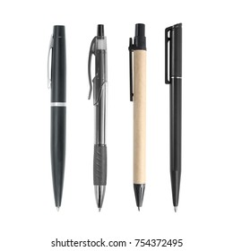 Black pen collection isolated on white background