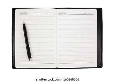 Black pen on a blank notebook isolate on white background