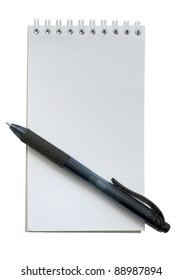 Black pen and small white notebook on white background isolated