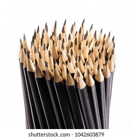 Black pencils on white background.
