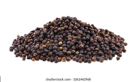 Black pepper corns isolated on white background