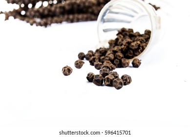 Black pepper corns on white background