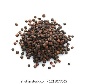 Black pepper grains on white background, top view. Natural spice