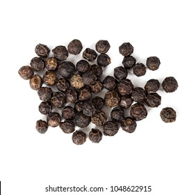 Black pepper peas isolated on white background. Top view.