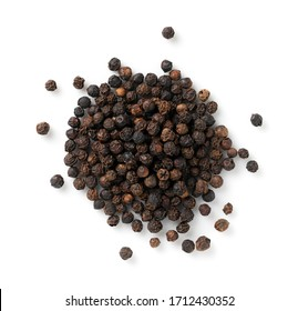Black pepper placed on a white background