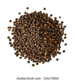 Black pepper seeds pile from top on white background