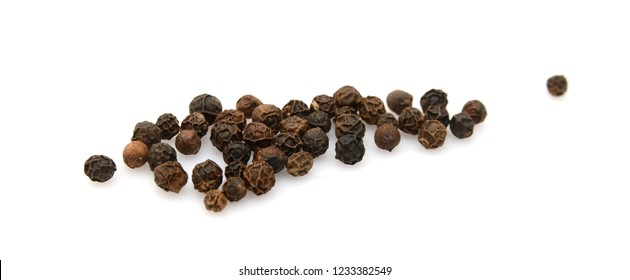 Black peppercorns, isolated on white background