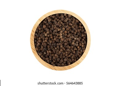 black peppercorns in wooden bowl isolated on white background with clipping path