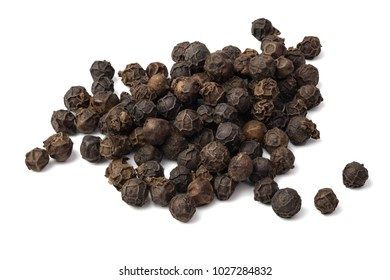 black peppers isolated on white background.