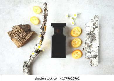 black perfume bottle with fragments of wooden bark, daisies and citrus slices. Citrus woody aroma concept