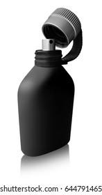 Black perfume bottle isolated on white background