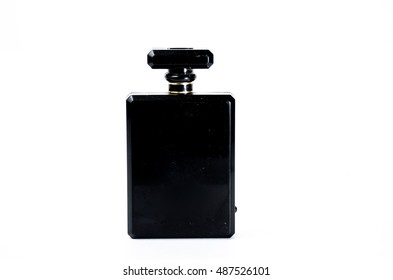 Black perfume bottle on White background