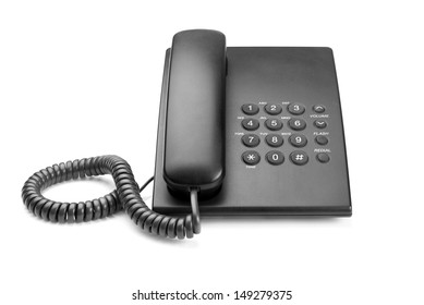 black phone with buttons on a white background
