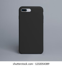 Black phone case mock up. Smart phone isolated on gray background in a black plastic case back view. Template of iphone 8 plus case