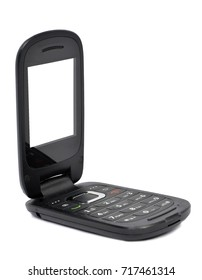 Black phone opened with blank screen isolated on white with small shadow at bottom.