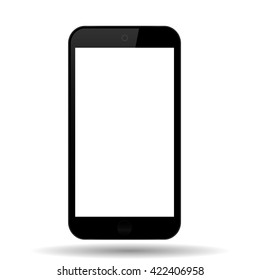 Black phone with shadow  on a white background