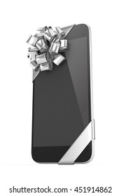 Black phone with silver bow. 3D rendering.