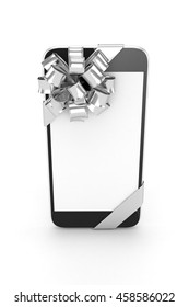 Black phone with silver bow and empty screen. 3D rendering.