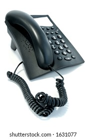 Black phone with the twirled cord