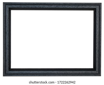 Black photo frame with a scraped rim inside. Isolated background