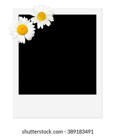 Black photo print of instant camera decorated with two marguerite blossoms on white background; Insert your personal snapshot; Instant picture template