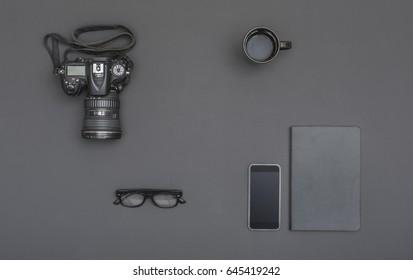 Black photographer or business office desk background