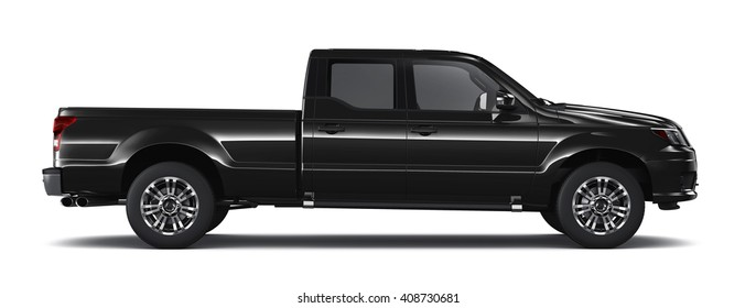 Black pickup truck - side view (3D render on white)