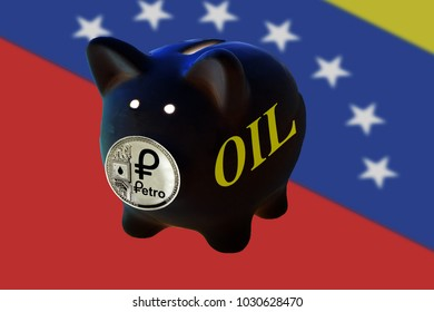 Black Piggy Bank with coins petro is the nose and the inscription oil. Cryptocurrency PTR venezuela. To invest and save.