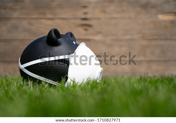 Black piggy Bank on a Meadow with mouth protection. The Background Wood Wall