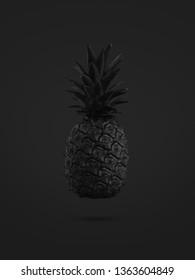 black pineapple on black background