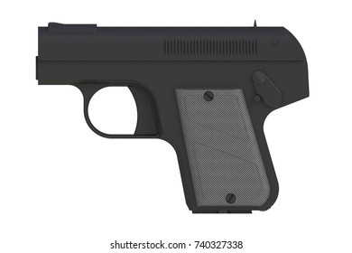 Black pistol isolated on white background, 3D rendering