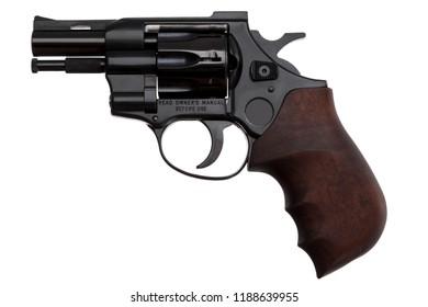 Black pistol revolver isolated on white background