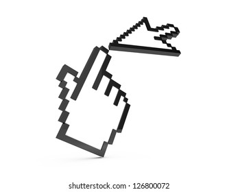 Black pixel hand and arrow cursors, finger touching pointers, isolated on white background.