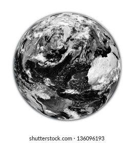Black planet Earth with clouds isolated on white background. Elements of this image furnished by NASA.