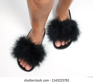 black plasica slippers with ostrich hair