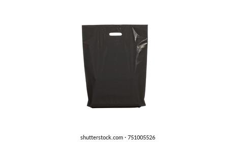 Black plastic bag isolated on white background