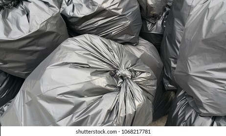 Black plastic bag put garbage , texture