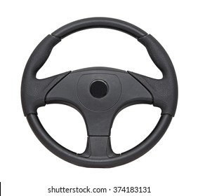 Black plastic boat steering wheel isolated on white