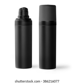 black plastic bottle  with fine mist ribbed sprayer for cosmetic, perfume, deodorant, freshener
