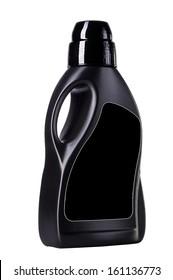 black plastic bottle on white background