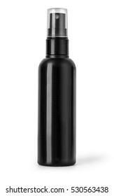 Black plastic bottle spray for hair on a white background. With clipping path